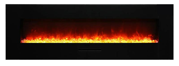 "Amantii 60""Flush Mount fireplace w/ Blk Surround, Log set & 3 colors of  media"