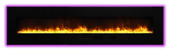 "Amantii 88""Flush Mount fireplace w/ Blk Surround,Log set & 3 colors of  media"