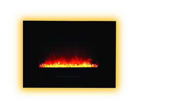 "Amantii 26""Flush Mount fireplace with Black Glass Surround,Log set & 3 colors of media"