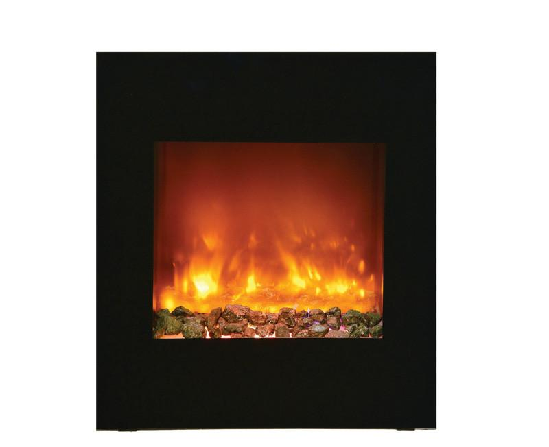 Amantii ZECL electric fireplace with blk surround, 11 pce. log set & Ice media Electric Fireplace Amantii