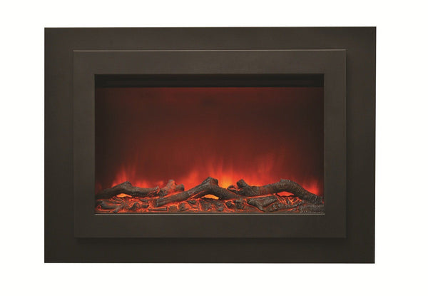 "Amantii 33"" Zero Clearance Unit with 37"" x 26"" Black Steel Surround & overlay"