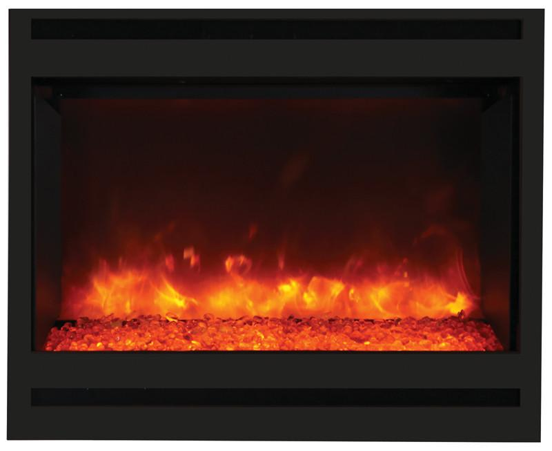 Amantii Zero Clearance Electrc Fireplace w/Arch Steel Surround Log and ICE media Electric Fireplace Amantii