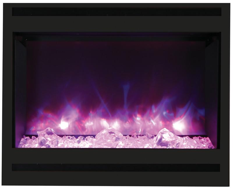 Amantii Zero Clearance Electric w/Square Steel Surround Log and ICE media Electric Fireplace Amantii