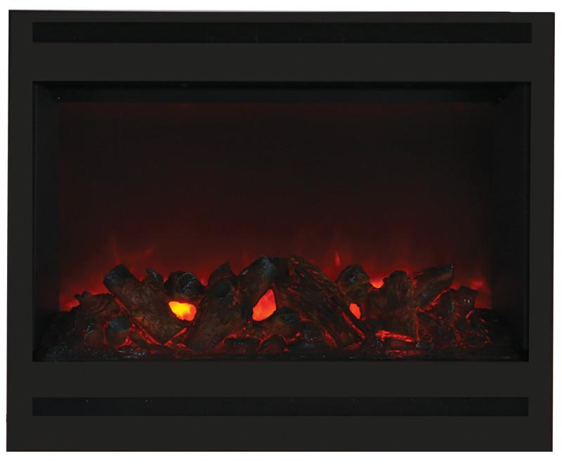 Amantii Zero Clearance Electric w/Square Steel Surround Log & 3 colors media Electric Fireplace Amantii