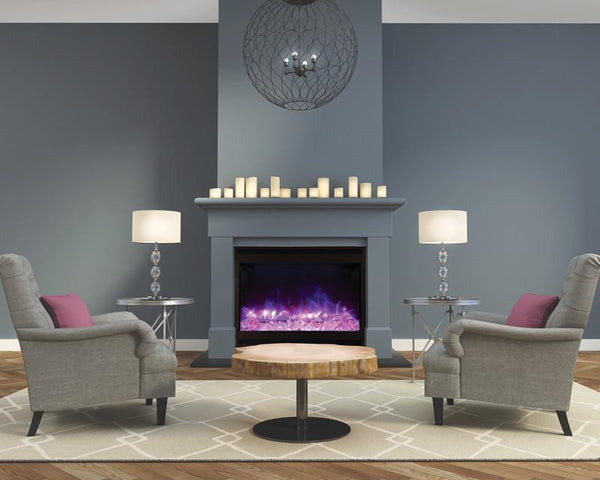 Amantii Zero Clearance Electric Fireplace w/Arch Steel Surround Log,3 colors media