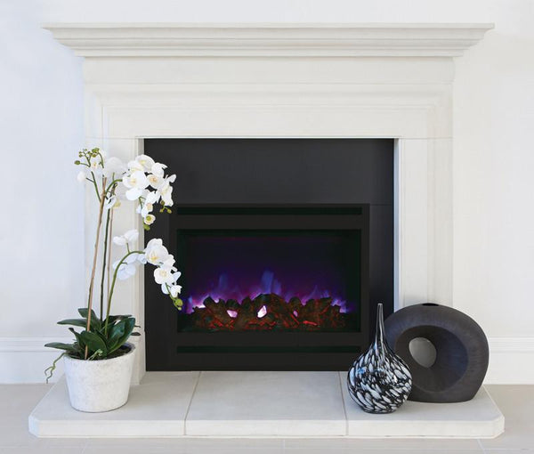 Amantii Zero Clearance Electric w/Square Steel Surround Log & 3 colors media