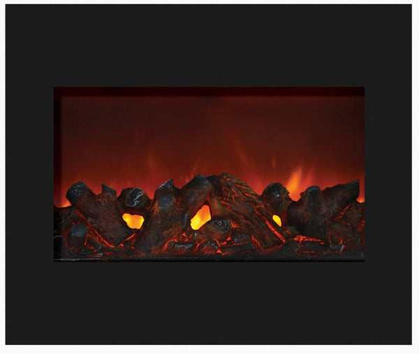 "Amantii 30"" ZECL fireplace with blk gls surround, log set and 3 colors of media"