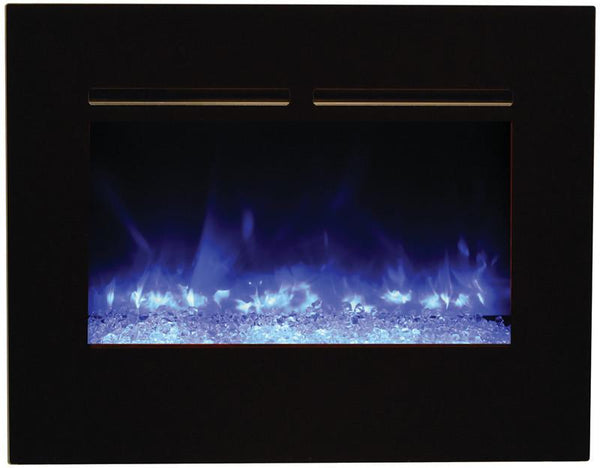 "Amantii 30"" ZECL flush mount unit with blk surround, log set and ice of media"