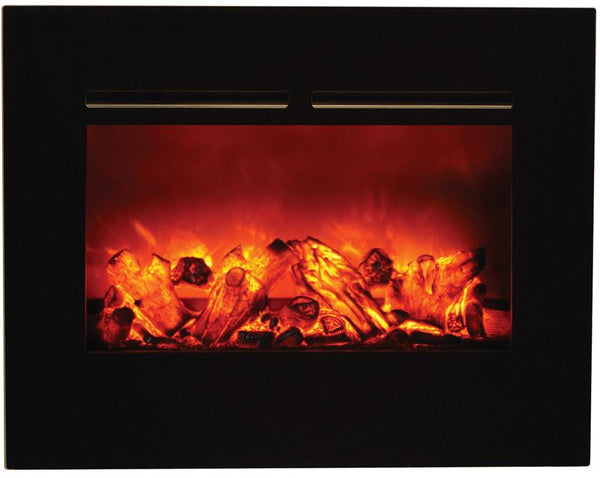 "Amantii 30"" ZECL flush mount unit with blk surround, log set and 3 colors of media"