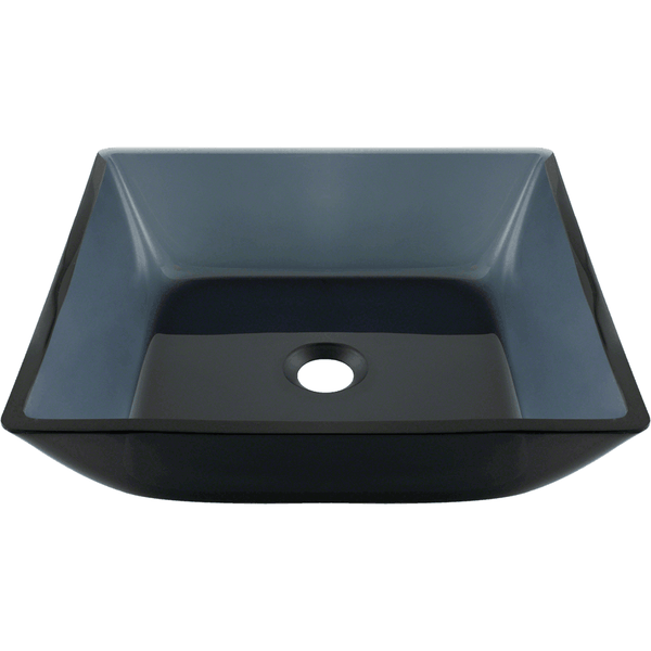 Bathroom Sink - Polaris P036 Square Black Glass Vessel Bathroom Sink