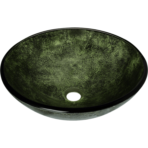 Bathroom Sink - Polaris P926 Forest Green Glass Vessel Bathroom Sink