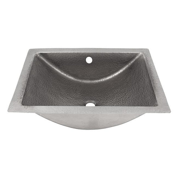 Bathroom Sink - Solid Hand Hammered Copper Concave Undermount Lavatory Sink  - Satin Nickel