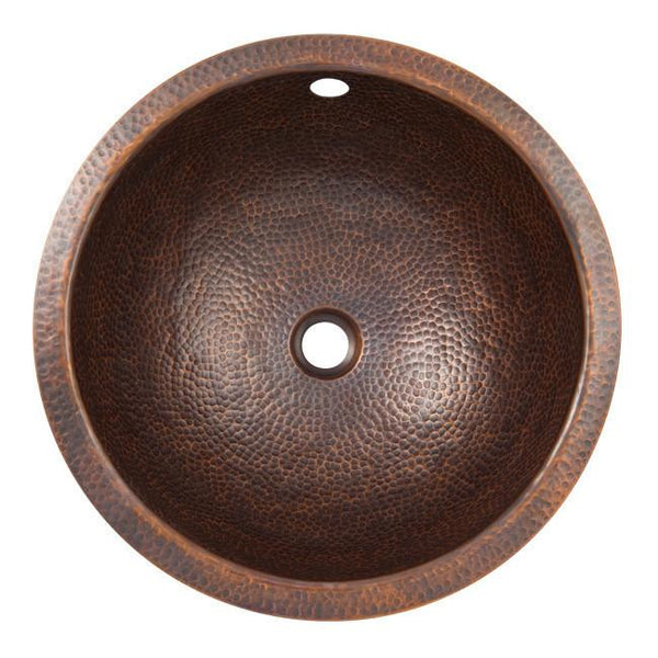 Bathroom Sink - Solid Hand Hammered Copper Large Round Self Rimming Lavatory Sink - Antique Copper