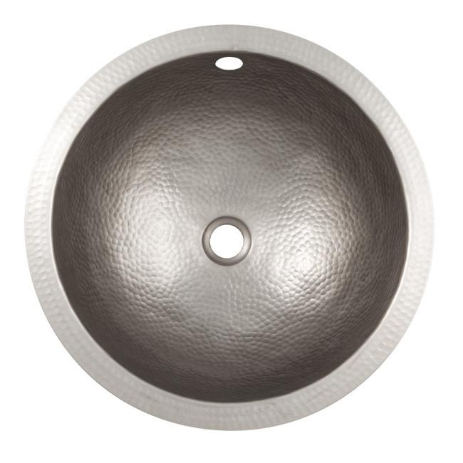 Solid Hand Hammered Copper Medium Round - Satin Nickel Bathroom Sink The Copper Factory