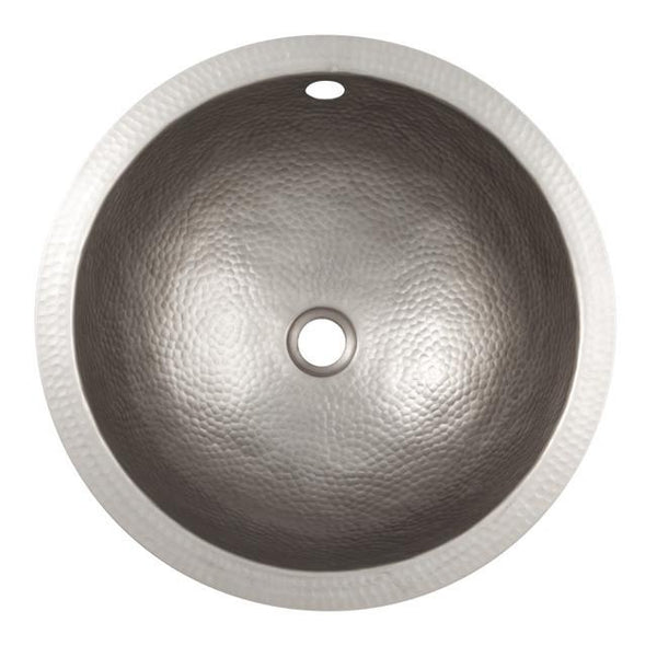 Bathroom Sink - Solid Hand Hammered Copper Medium Round Undermount Lavatory Sink  - Satin Nickel