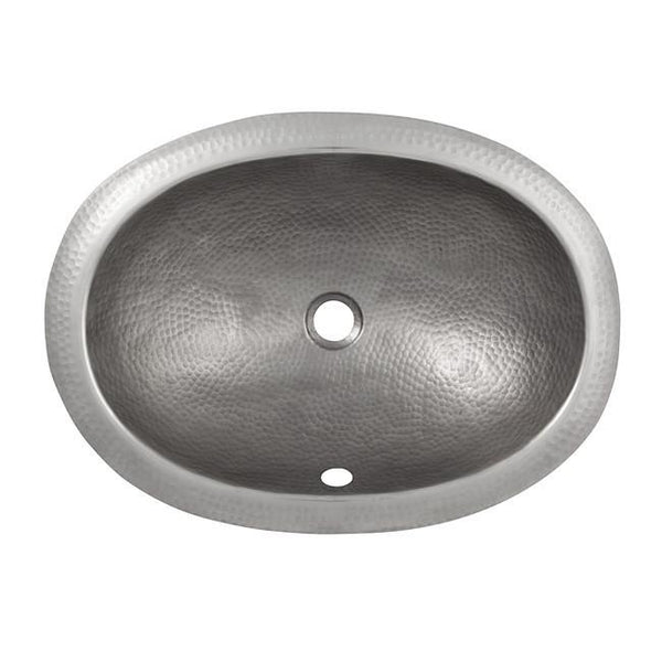 Bathroom Sink - Solid Hand Hammered Copper Oval Self Rimming Lavatory Sink - Satin Nickel