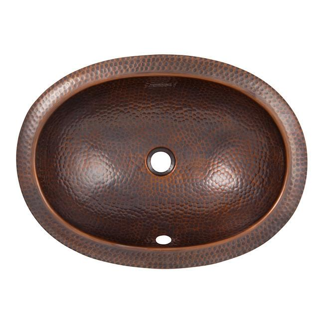 Solid Hand Hammered Copper Oval Undermount Lavatory Sink - Antique Copper Bathroom Sink The Copper Factory