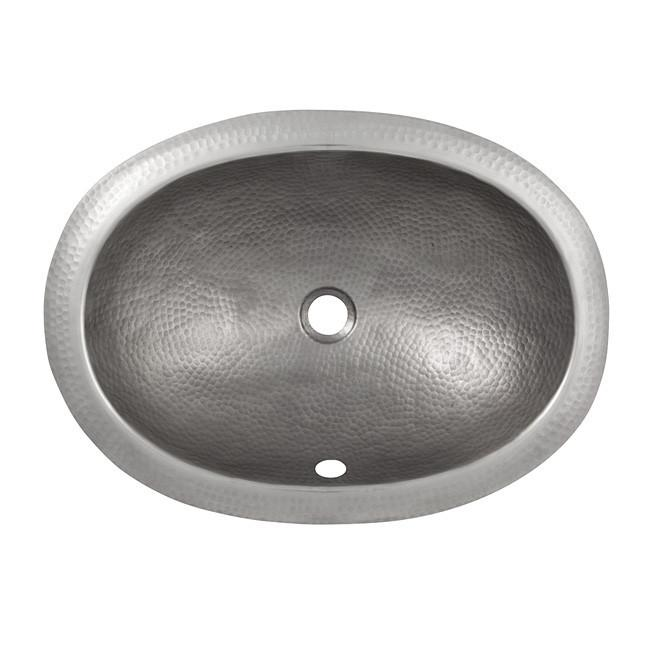 Solid Hand Hammered Copper Oval Undermount Lavatory Sink - Satin Nickel Bathroom Sink The Copper Factory