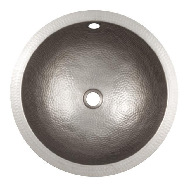 Solid Hand Hammered Copper Small Round Undermount Lavatory Sink - Satin Nickel Bathroom Sink The Copper Factory