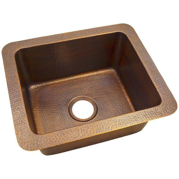 Bathroom Sink - Solid Hand Hammered Copper Small Single Bowl Drop-In / Undermount Sink  - Antique Copper