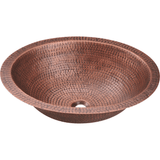 Bowl Sink - Polaris P019 Single Bowl Oval Copper Sink