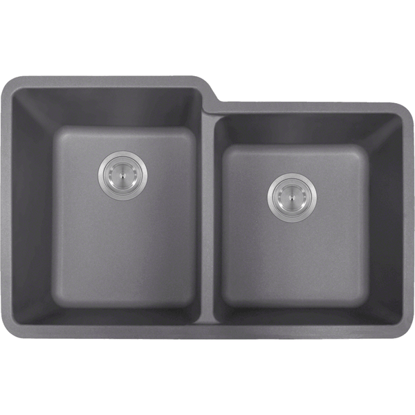 Bowl Sink - Polaris P108S Double Offset Bowl AstraGranite Sink
