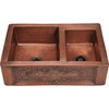 Polaris P119 Offset Double Bowl Copper Apron Sink Bowl Sink Polaris