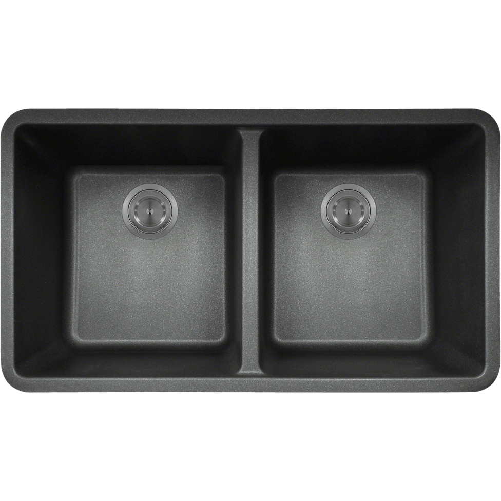 Polaris P208BL Double Equal Bowl AstraGranite Kitchen Sink Bowl Sink Polaris