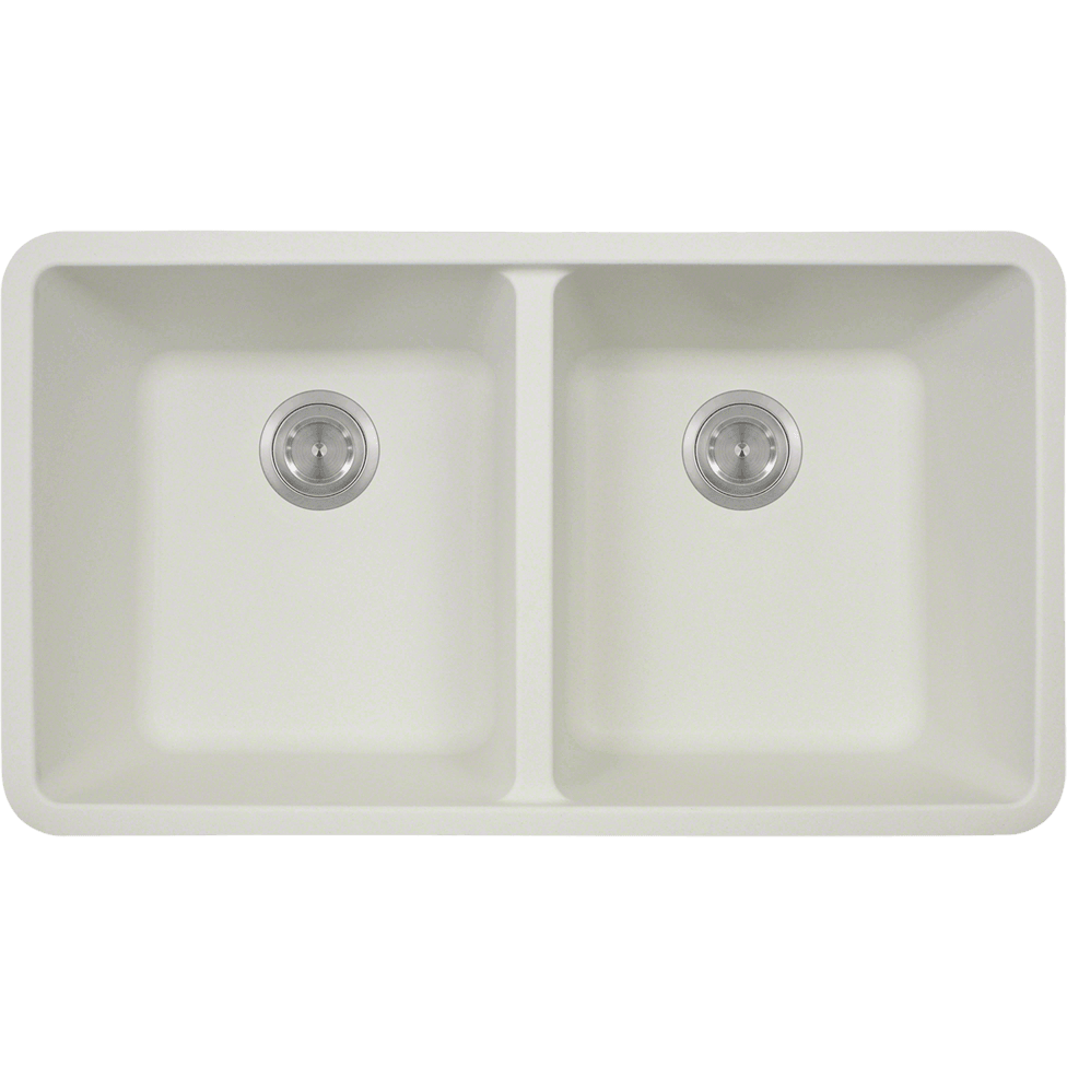 Polaris P208W Double Equal Bowl AstraGranite Kitchen Sink Bowl Sink Polaris