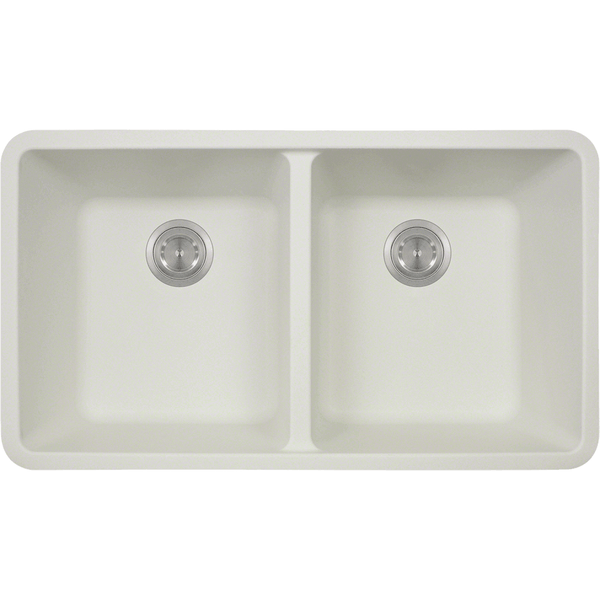 Bowl Sink - Polaris P208W Double Equal Bowl AstraGranite Kitchen Sink