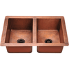 Polaris P209 Equal Double Bowl Copper Kitchen Sink Bowl Sink Polaris
