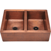 Polaris P219 Equal Double Bowl Copper Apron Sink Bowl Sink Polaris