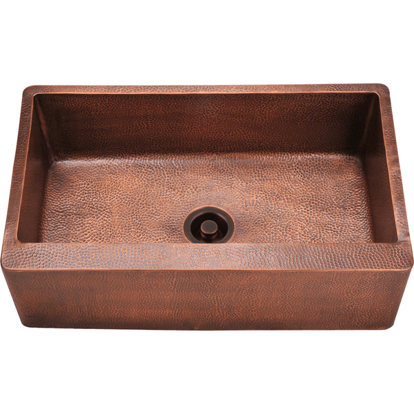 Bowl Sink - Polaris P319 Single Bowl Copper Apron Sink