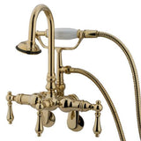 "Kingston Brass Vintage 3-3/8"" - 9"" Adjustable Center Wall Mount Clawfoot Tub Filler with Hand Shower"