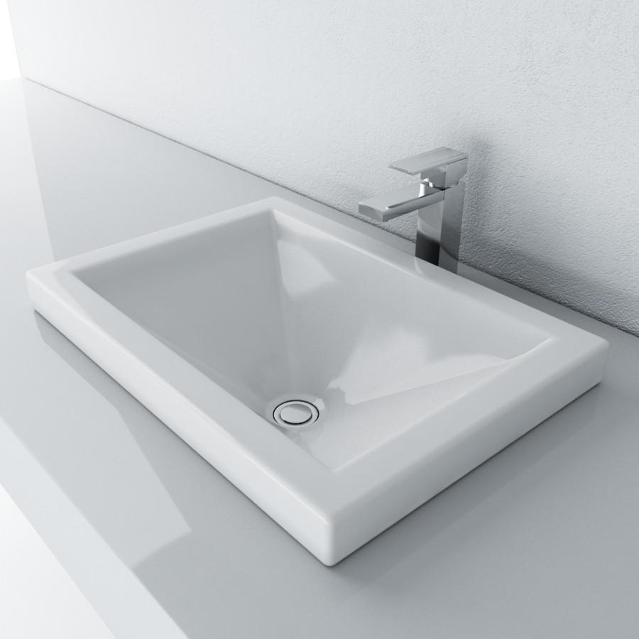 Cantrio Vitreous China Semi Recessed PS-111 Top Mount Bathroom Sink Ceramic Series Cantrio