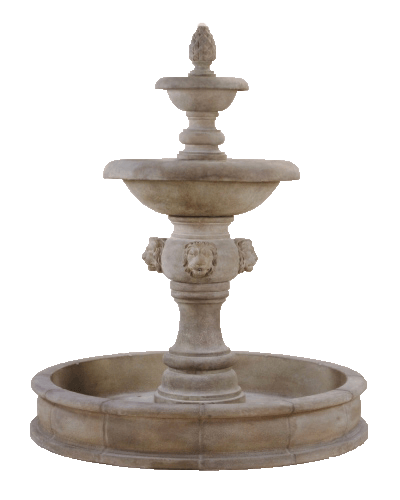 Quattro Lion Two Tier Pond Outdoor Cast Stone Fountain Fountain Tuscan