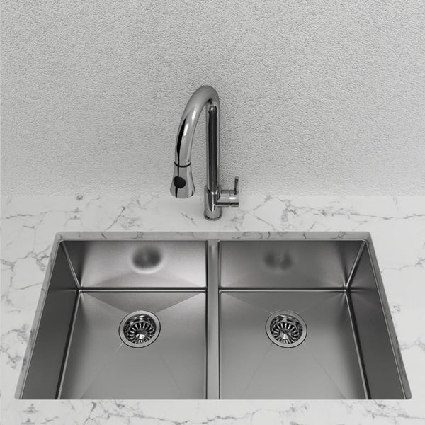 "Cantrio Double Bowl 32"" Stainless Steel Undermount Kitchen Sink"