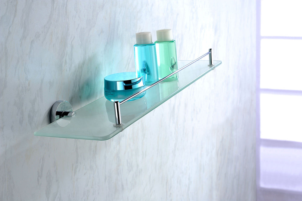 ANZZI Caster Series Glass Shelf in Polished Chrome Glass Shelf ANZZI