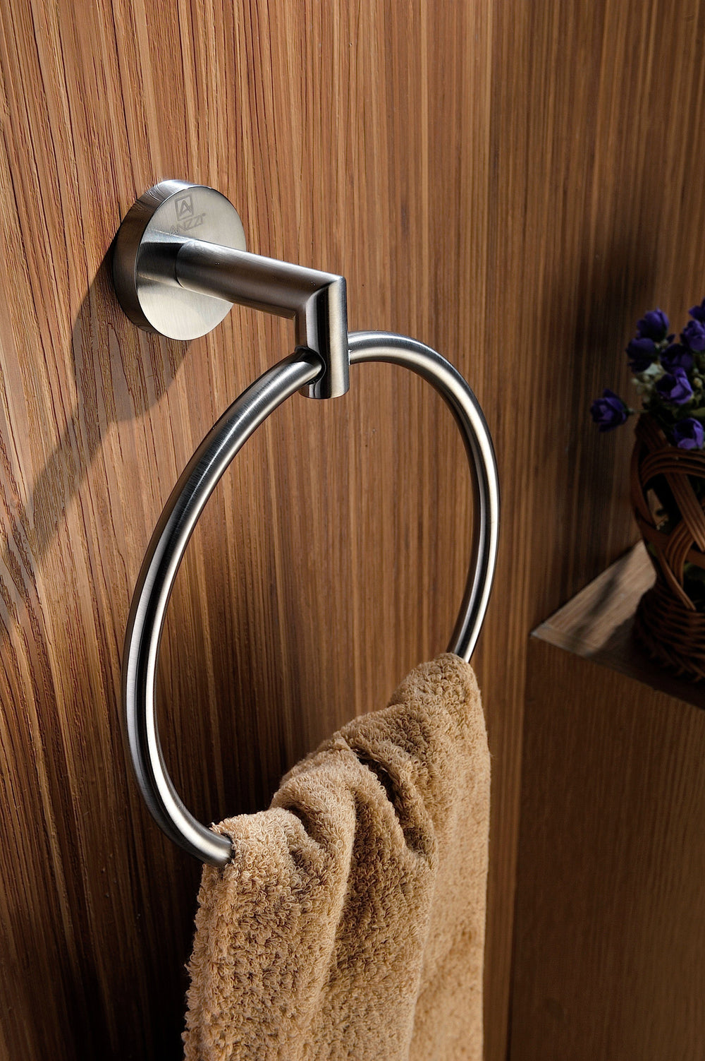 ANZZI Caster 2 Series Towel Ring in Brushed Nickel Towel Ring ANZZI
