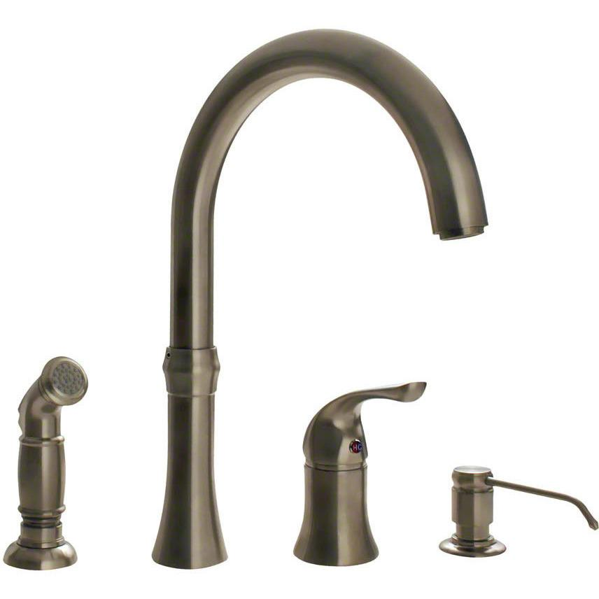 Sir Faucet 710- 4 Hole Kitchen Faucet Kitchen Faucet Sir Faucet Brushed Nickel