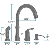 Kitchen Faucet - Sir Faucet 710-ABR Antique Bronze 4 Hole Kitchen Faucet