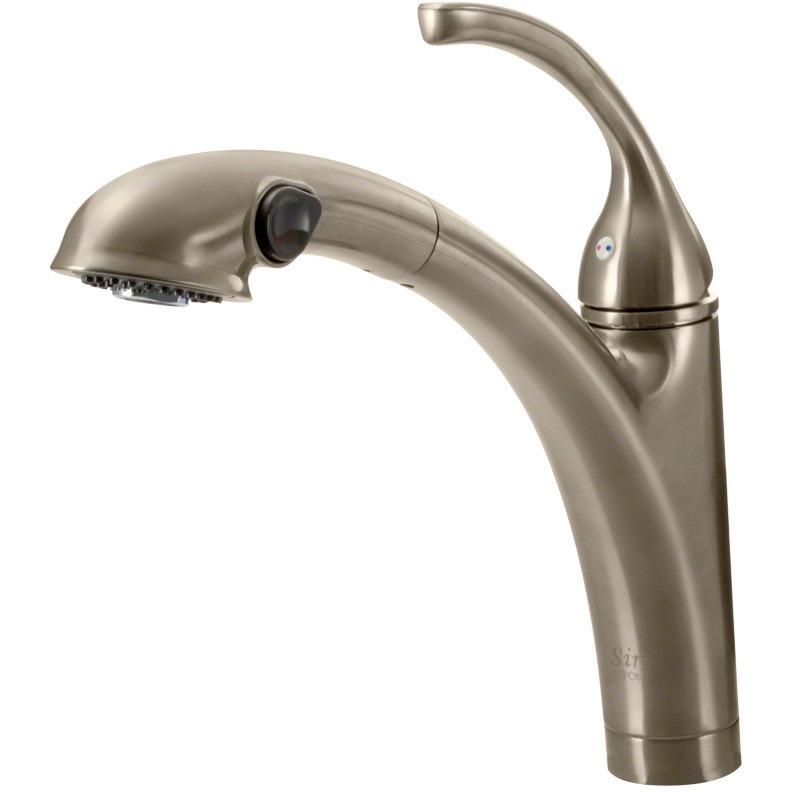 Sir Faucet 765- Pull Out Spray Kitchen Faucet Kitchen Faucet Sir Faucet Brushed Nickel
