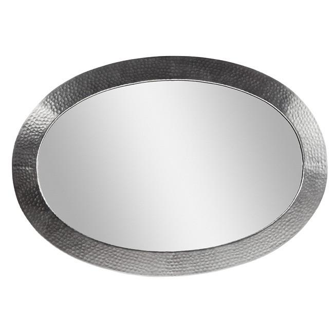 Solid Hammered Copper Framed Oval Mirror - Satin Nickel Mirror The Copper Factory