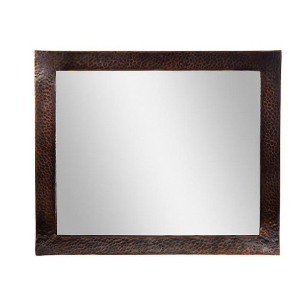 Mirror - Solid Hammered Copper Framed Rectangular Mirror  - Antique Copper