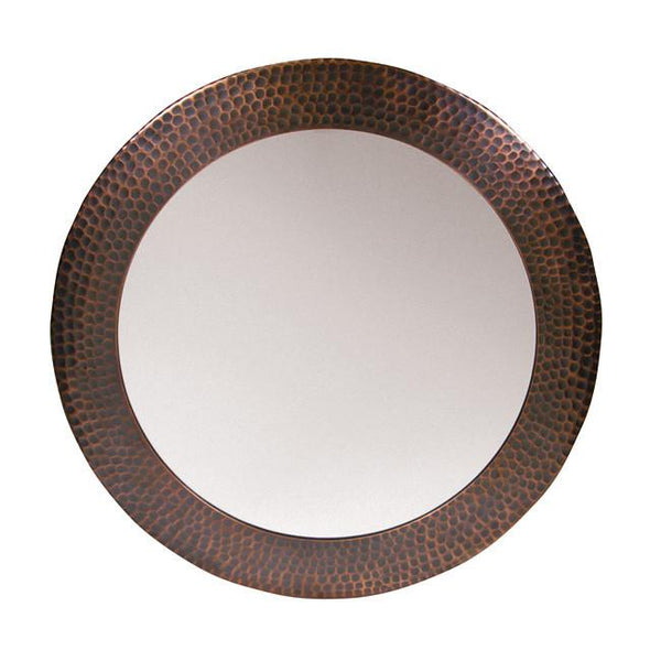 Mirror - Solid Hammered Copper Framed Round Mirror  - Antique Copper