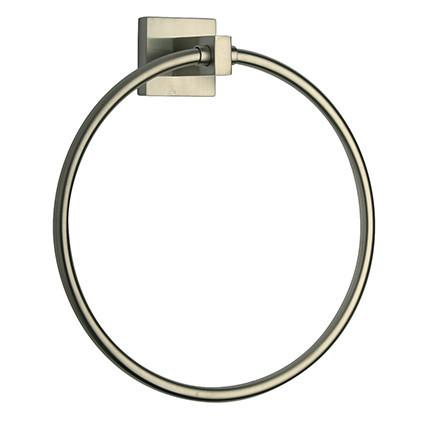 Latoscana Square Towel Ring In A Brushed Nickel Finish towel rings Latoscana