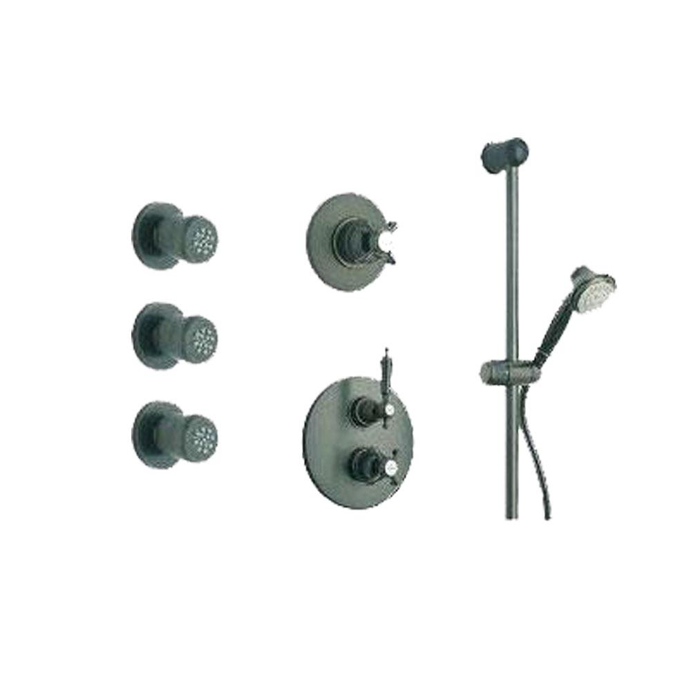 Latoscana Ornellaia Option 6 thermostatic valve shower system in a Chrome finish bathtub and showerhead faucet systems Latoscana