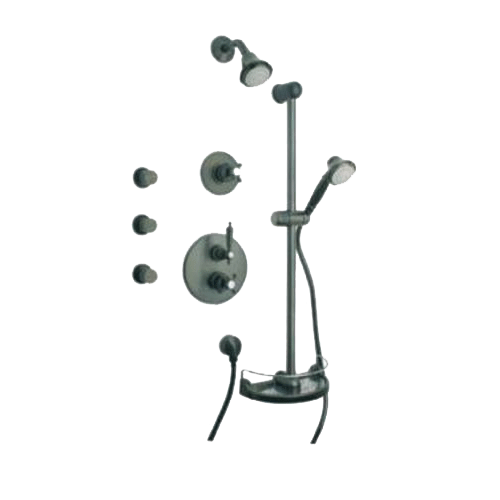 Latoscana Ornellaia Option 7 Thermostatic Valve In A Brushed Nickel finish bathtub and showerhead faucet systems Latoscana