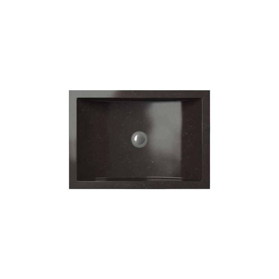 Cantrio Black Granite Rectangle Vessel Sink RS-019 Stone Series Cantrio