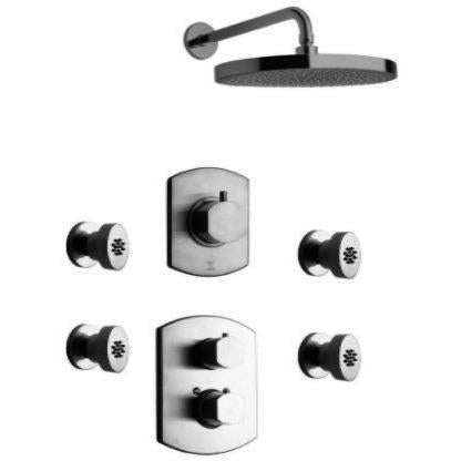Latoscana Novello Thermostatic Valve Shower System Option 6 In Brushed Nickel bathtub and showerhead faucet systems Latoscana